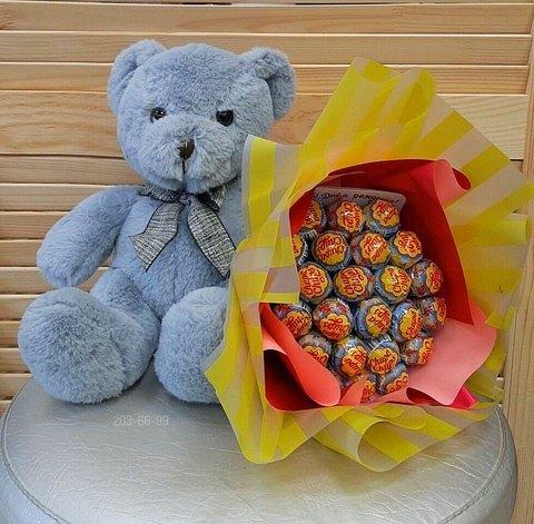 Сладкий букет с медведем  #188943