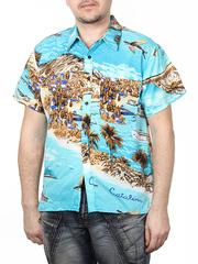 80160-10 рубашка мужская, бирюзовая