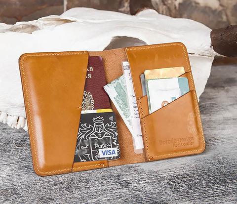 BC143-2 Кожаная обложка ручной работы для паспорта и карточек