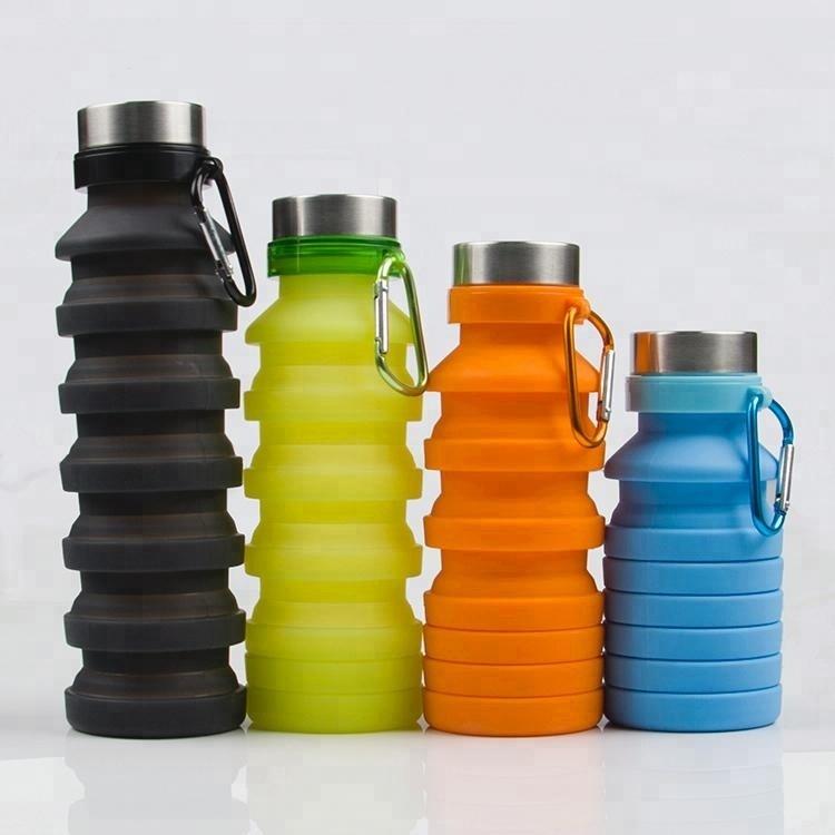 Бутылка для воды силиконовая складная с карабином 550 мл