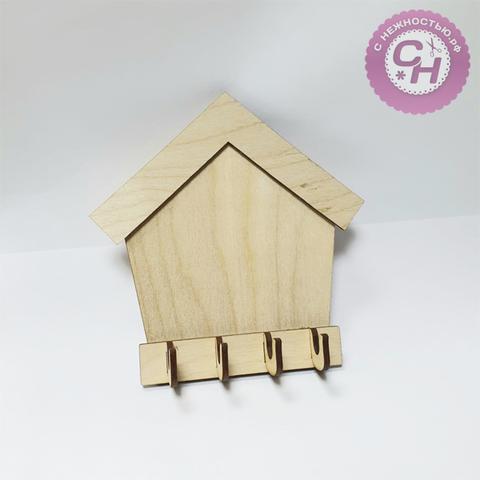 Ключница-домик, 4 крючка,  3 см × 14 см × 14 см, деревянная, 1 шт.