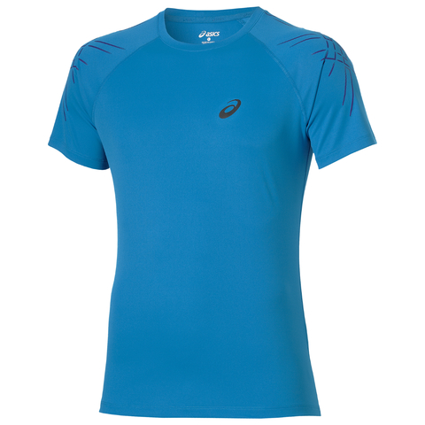 ASICS STRIPE SS TOP мужская спортивная футболка голубая