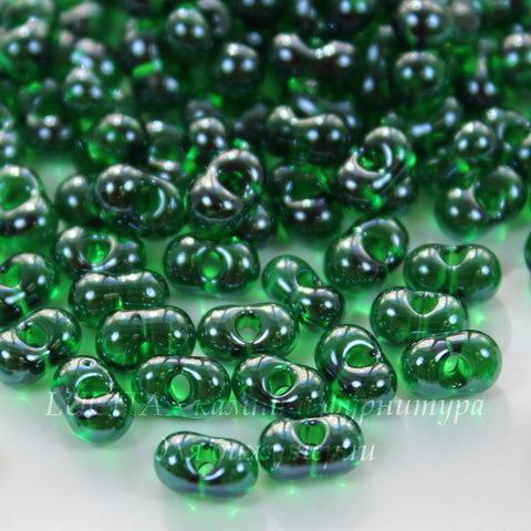 56120 Бисер Preciosa Фарфаль (Farfalle) 6,5х3,2 мм прозрачный блестящий зеленый