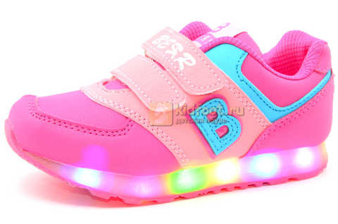 Светящиеся кроссовки Бебексия (BEIBEIXIA) для девочек, цвет розовый, светится вся подошва. Изображение 1 из 10.