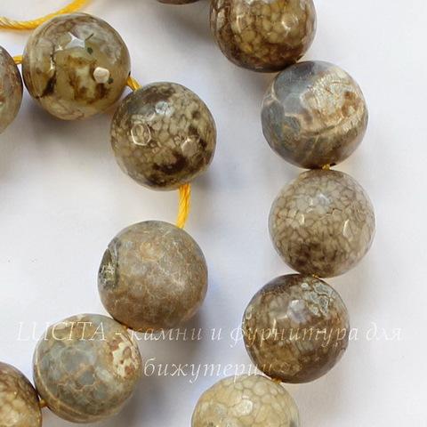 Бусина Агат цветочный (прессов), шарик с огранкой, цвет - бежевый, 12 мм, нить