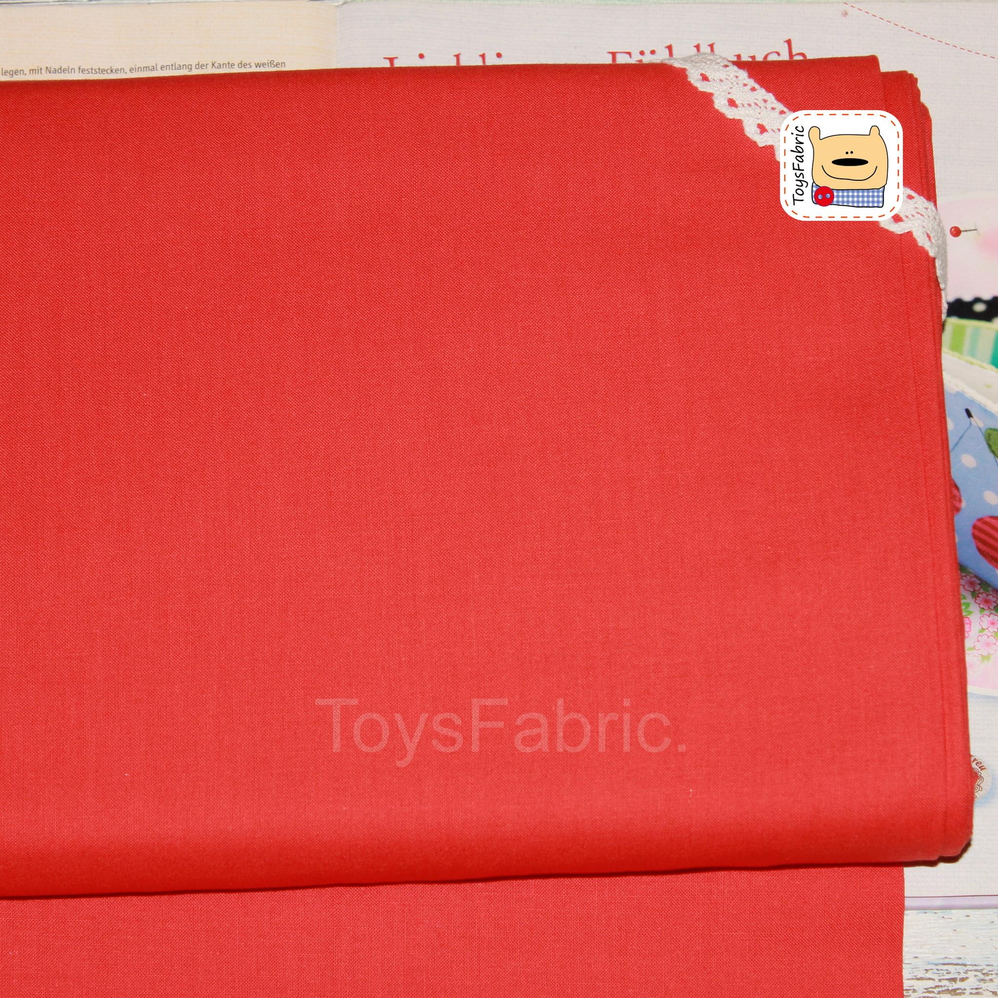 Ткань для пэчворка 20579 (однотонный красно-оранжевый)