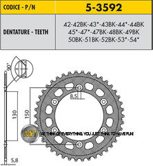 Звезда задняя ведомая Sunstar Rear Sproket 5-3592-52 для мотоцикла Yamaha