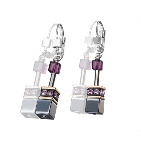 Серьги Coeur de Lion 4015/20-0824 цвет серый, фиолетовый