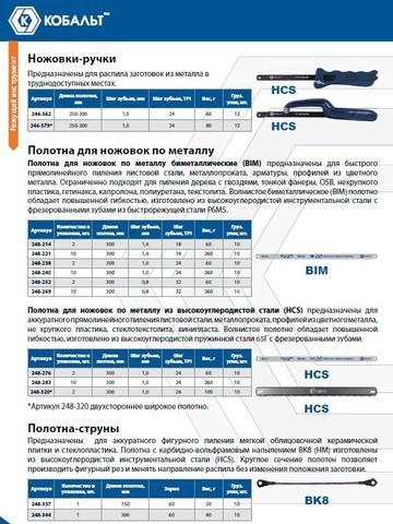 Полотна ножовочные по металлу КОБАЛЬТ 300 мм, эластичные, шаг 1.0 мм/24TPI, HCS (2 шт) блистер
