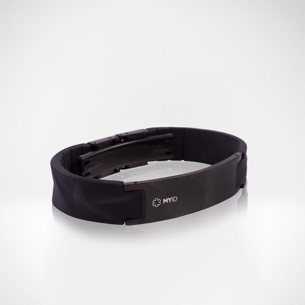 Уцененный Браслет Lifestrength T1i New MyID luxe черный, небольшие царапины на металлической пластине.