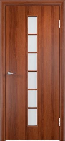 Дверь Верда C-12, цвет итальянский орех, остекленная