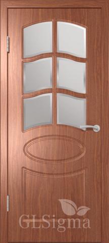 Дверь GreenLine Sigma-102, стекло дельта бронза, цвет итальянский орех, остекленная