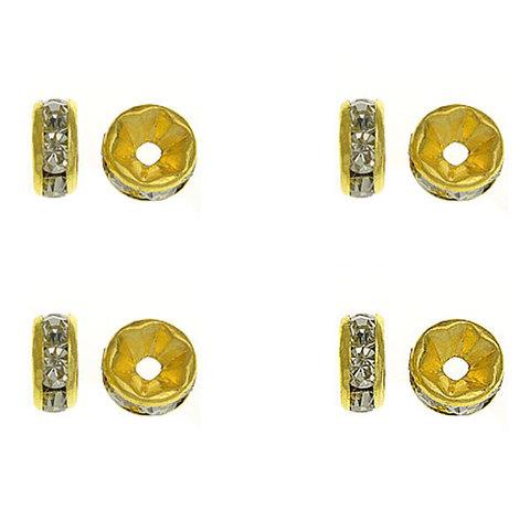 Рондель со стразами 6 мм золото - прямая обжимка