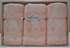 Набор махровых салфеток SELEN СЕЛЕН  3 пр 32х50  Soft Cotton (Турция)