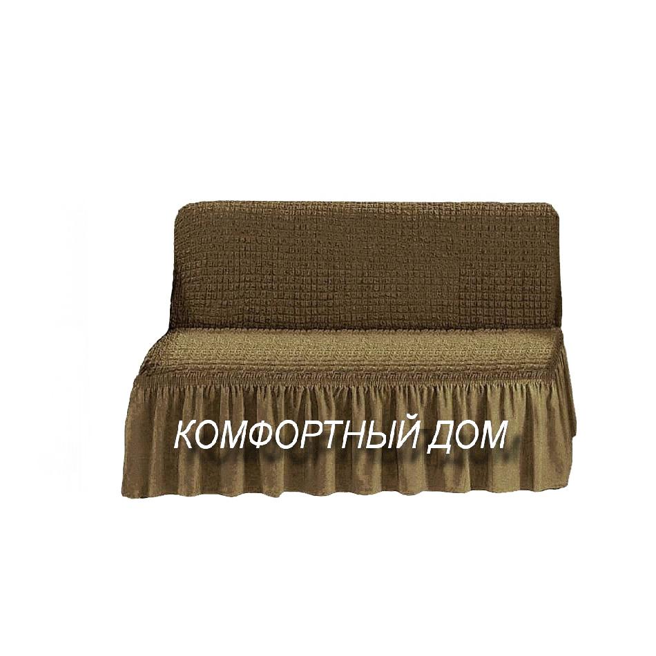 Чехол на диван, без подлокотников темно-оливковый