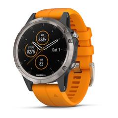 Мужские мультиспортивные часы Garmin Fenix 5 Plus Sapphire - титановый с оранжевым ремешком 010-01988-05