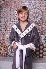 Puppy антрацит махровый халат для мальчика  с капюшоном Five Wien Турция