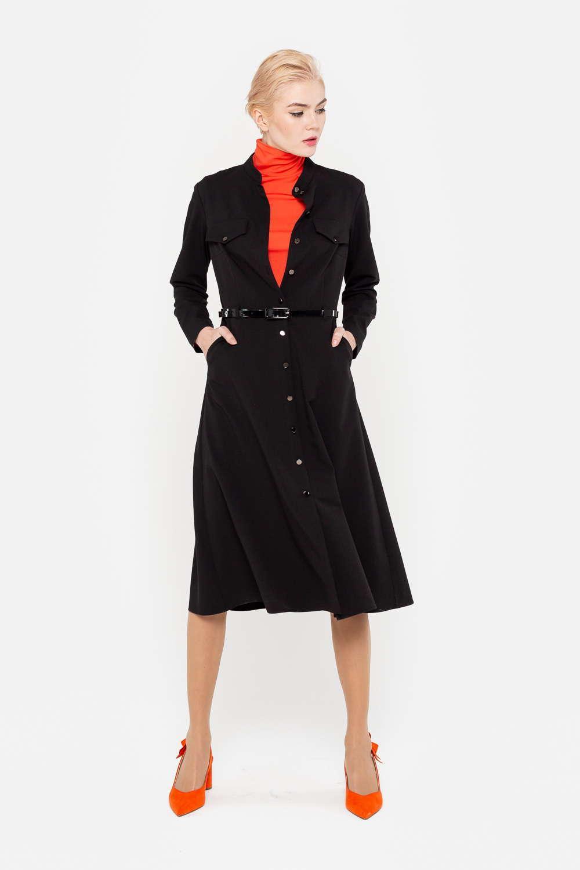 Платье З394-714 - Платье с застежкой на пуговицы по всей длине дарит его владелице два варианта использования – в комплекте с брюками получается модный современный комплект. Модель с карманами-обманками расклешенного силуэта формирует женственный силуэт. Платье займет главное место и в повседневном, и в офисном гардеробе.