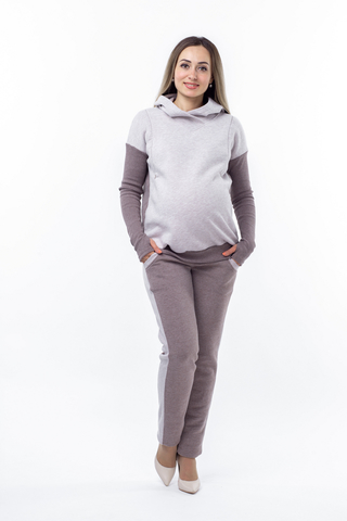 Утепленный спортивный костюм для беременных и кормящих 10751 бежевый/капучино