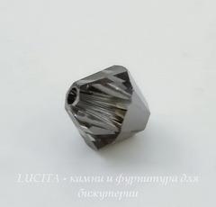 5328 Бусина - биконус Сваровски Crystal Silver Night 6 мм, 5 штук