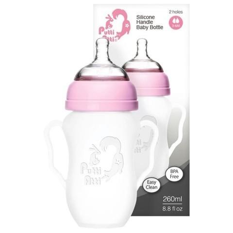 Силиконовая детская бутылочка с ручками Putti Atti 260 мл розовый