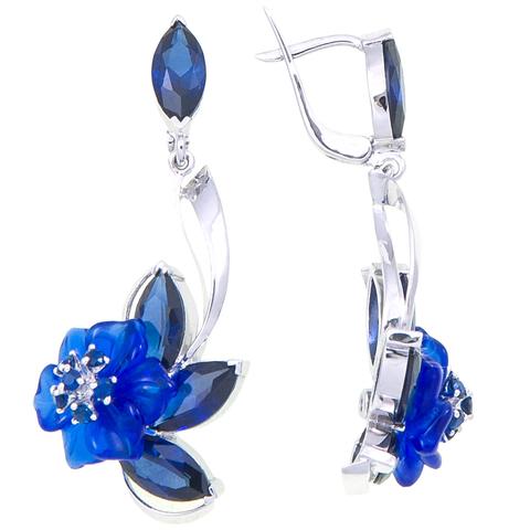 Серьги с цветами из синего кварца и сапфиром Арт.2253сс