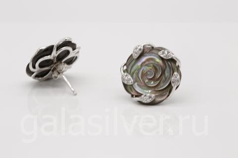 Серьги с перламутром и цирконом из серебра 925