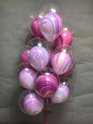 Букет волнистых шаров Агат в прозрачных шарах