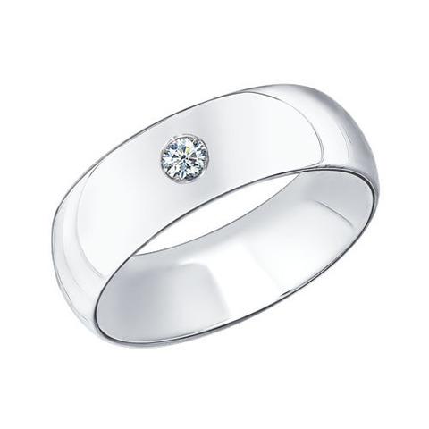 Обручальное кольцо из серебра с фианитом