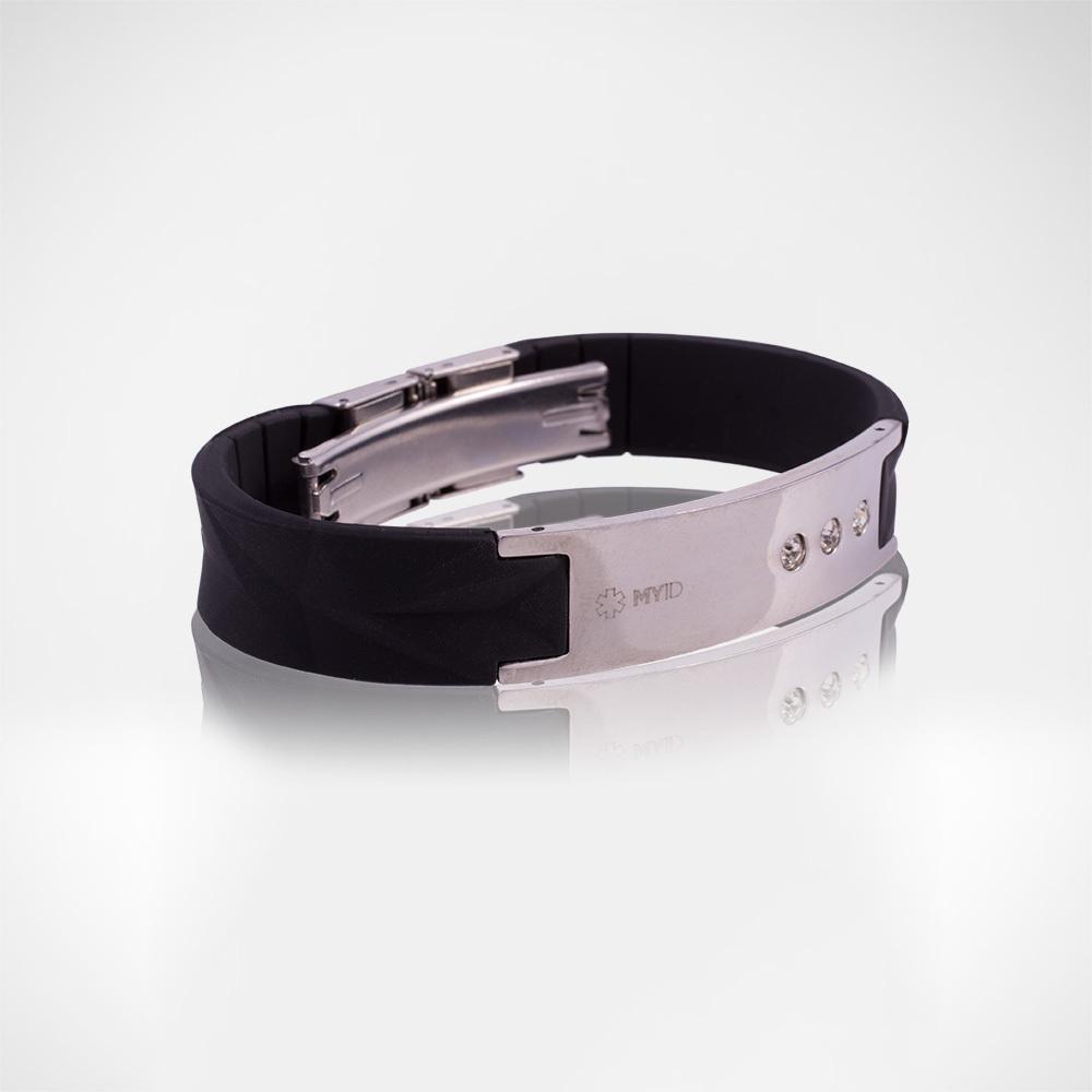 Браслет Lifestrength T1i New MyID luxe черный/серебрянный уцененный ( небольшие потертости на металл. вставке при изготовлении браслета)
