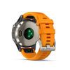 Купить Мужские мультиспортивные часы Garmin Fenix 5 Plus Sapphire - титановый с оранжевым ремешком 010-01988-05 по доступной цене