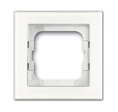 Рамка на 1 пост. Цвет Белое стекло. ABB(АББ). Axcent(Акcент). 1754-0-4437