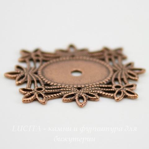 """Сеттинг - основа """"Листики"""" для камеи или кабошона 14х10 мм (оксид меди)"""