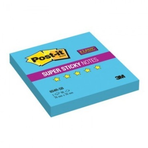 Блок-кубик Post-it Super Sticky 654R-SB, 76х76 голубой,90л.