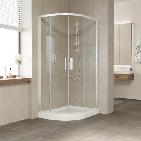 Душевой уголок Vegas Glass ZS-F профиль белый, стекло прозрачное