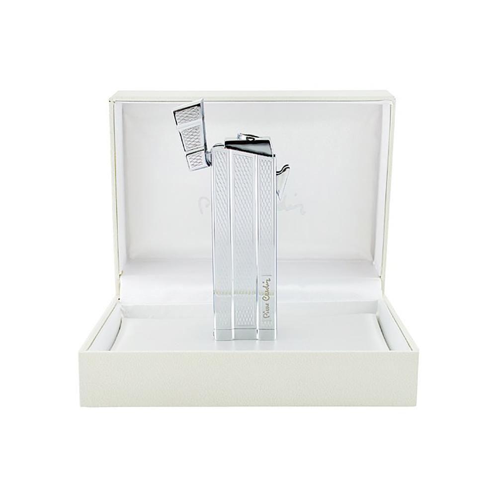 Зажигалка Pierre Cardin газовая турбо, цвет серебристый с насечкой 2,4х1,5х8см