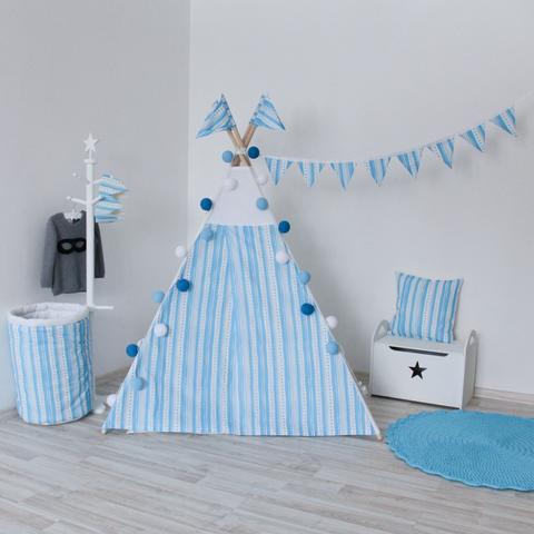 Подушка Blue Stripes голубые полосы