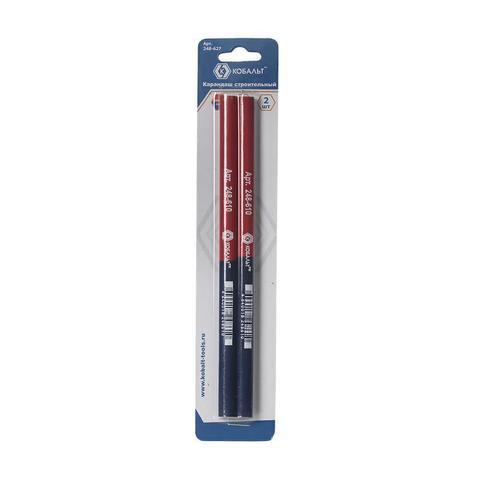 Карандаш строительный КОБАЛЬТ 2-х цветный, красный/синий 180 мм (2 шт.) блистер