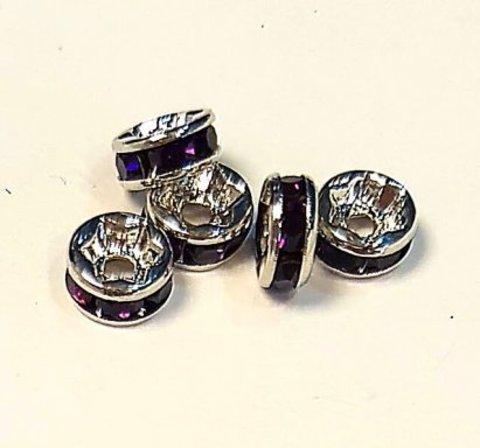 Рондель со стразами 6 мм. платина - прямая обжимка фиолетовый