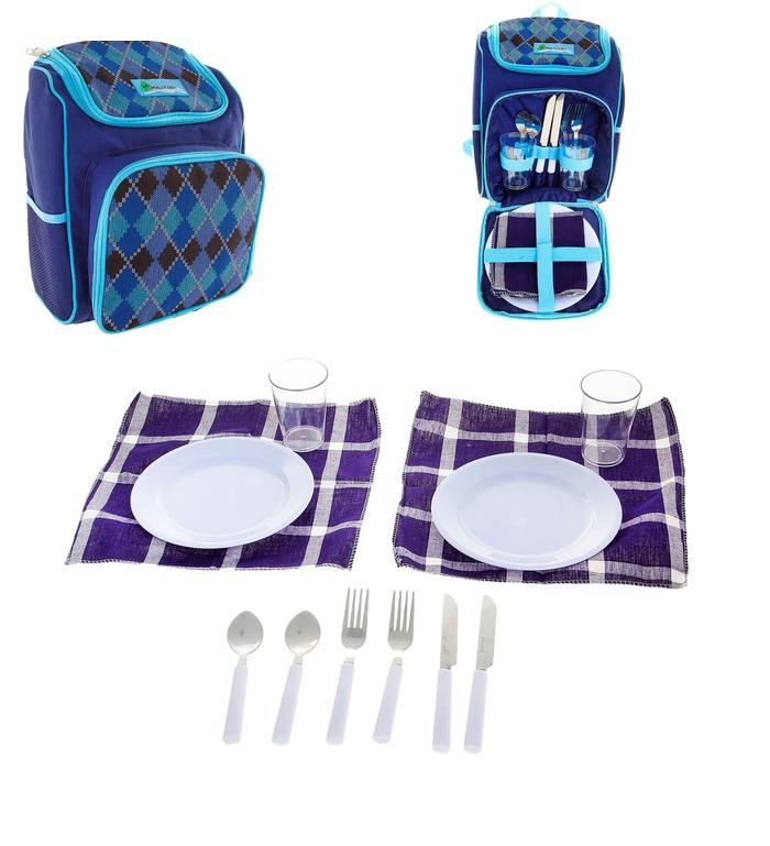 Рюкзак-холодильник с набором для пикника на двоих