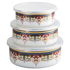 Набор 3 штуки (400 мл, 700 мл, 1000 мл) эмалированных салатников с пластиковыми крышками EM-00003A/55