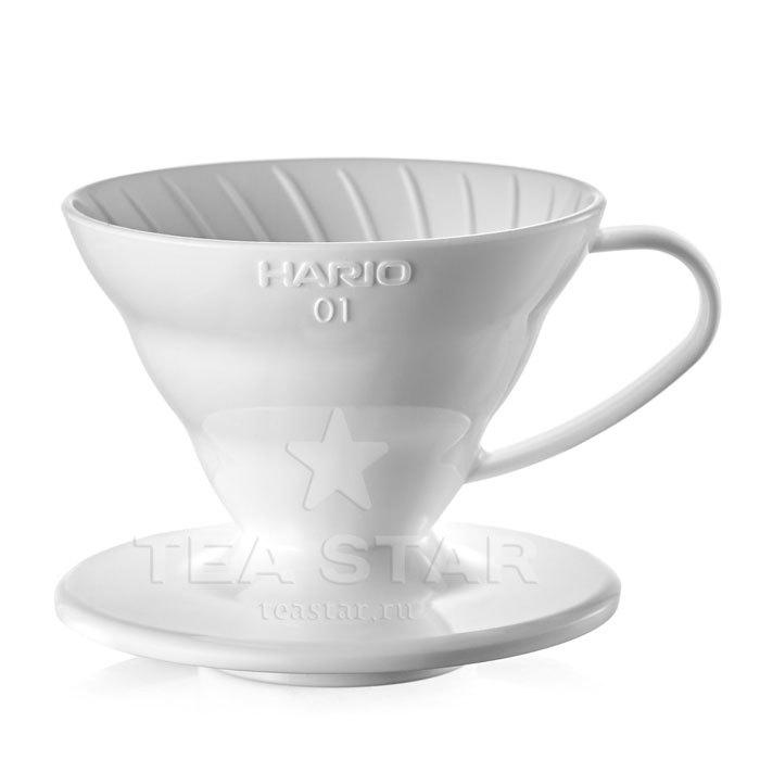 Кофейные аксессуары Воронка Hario 60, VD-01W, пластиковая для приготовления кофе, белая Hario_V60-VD-01w-1.jpg