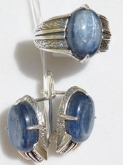 Этна (кольцо + серьги из серебра)