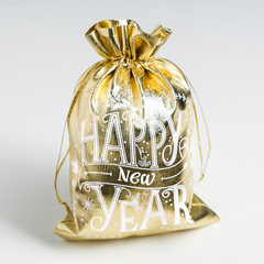 Мешочек подарочный парча Happy new Year, 16 х 24 см