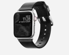 Ремешок Nomad Modern Strap (Slim) для Apple Watch 40mm/38mm кожа  черный/ серебристый