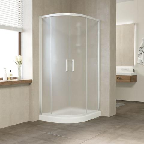Душевой уголок Vegas Glass ZS-F профиль белый, стекло сатин