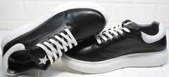 Черные кожаные кеды женские Wollen P337 K71 BW