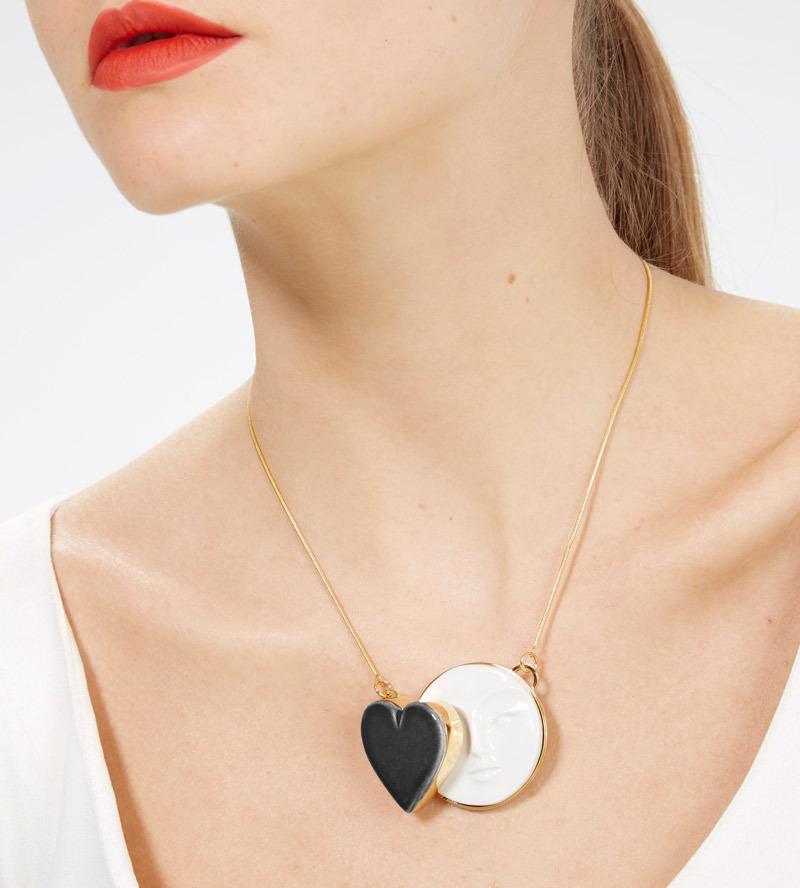 Колье из фарфора Moon Heart Black от ANDRES GALLARDO
