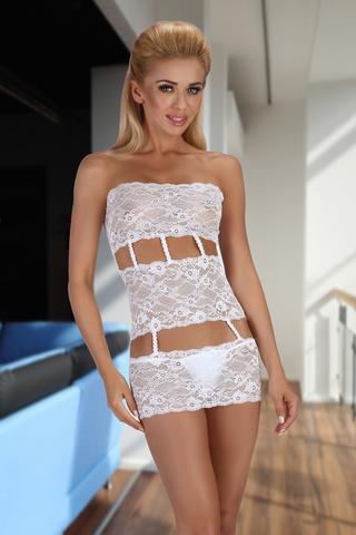 Белая кружевная сорочка прозрачная красивая эротическая сексуальная Beauty Night