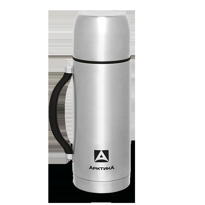 Термос Арктика (1 литр) с узким горлом, стальной, ручка